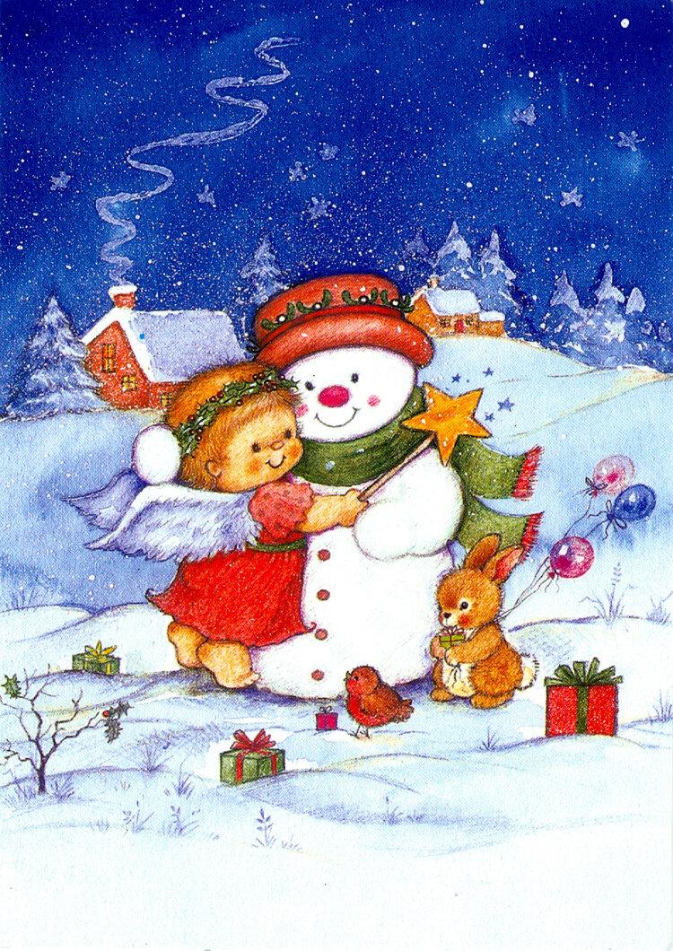 Картинки, открытка 3 снеговика