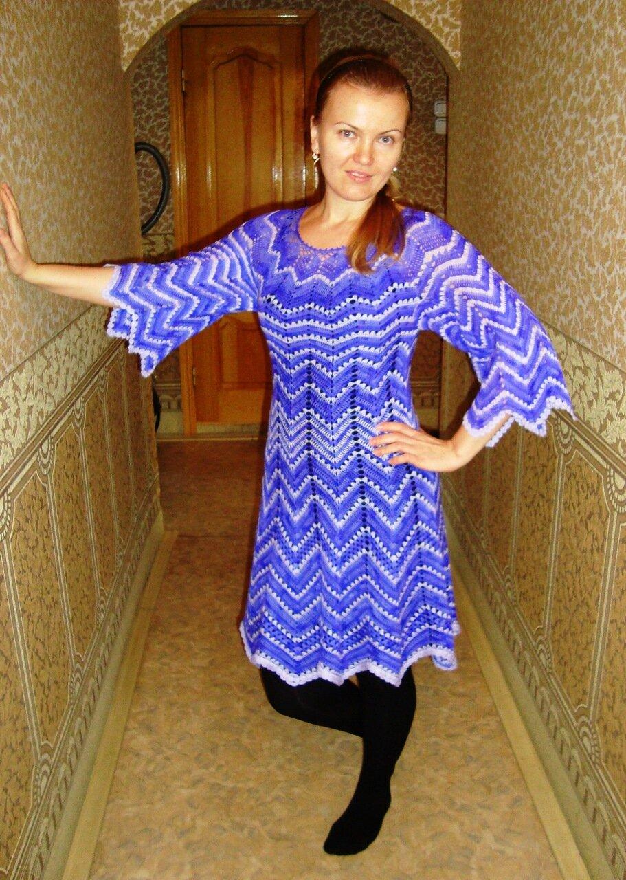 Вязание с крючком платье на зиму 822