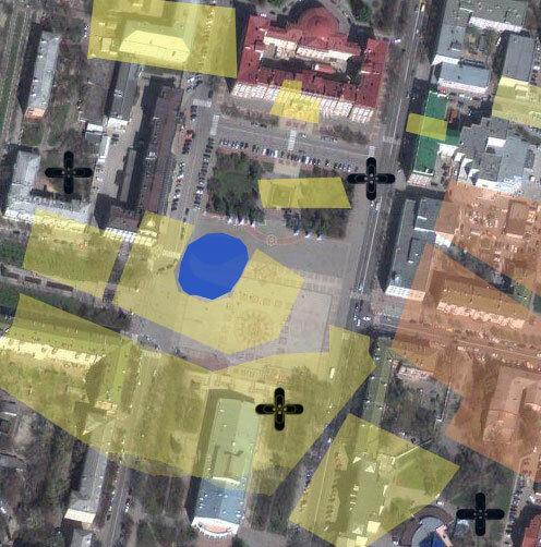 Белгород. Центральная Площадь, застройка 18 века. Синим выделено озеро, желтым - территории жилых и общественных построек, оранжевым - сгоревшие при пожаре 1766 г.