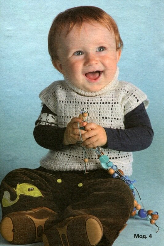 Резинка 1x1: вяжите попеременно 1 лиц. п., 1 изн. п. Белый жилет для малыша крючком.