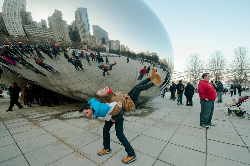 The Bean (Cloud Gate) in Chicago // Sergey and Nadezhda Mkhitaryan