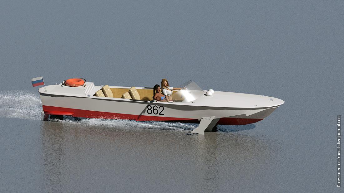 прогулочный катер на подводных крыльях Волга 3D модель