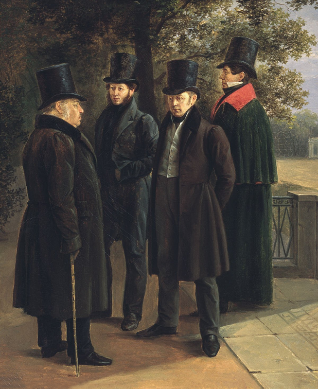 Гр. ЧЕРНЕЦОВ Г. и Н. Чернецовы. Пушкин, Крылов, Жуковский и Гнедич в Летнем саду. 1832 год.png