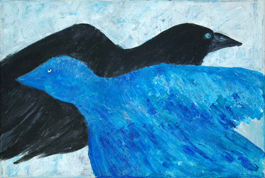 Та черная птица и та - голубая