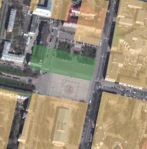 Белгород. Центральная Площадь, застройка 19 века. Желтым выделены кварталы, зелёным - сквер, заложенный в конце века