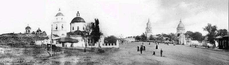 Панорама территории центральной площади Белгорода начала ХХ в. Вид с перекрестка Попова и Гражданского
