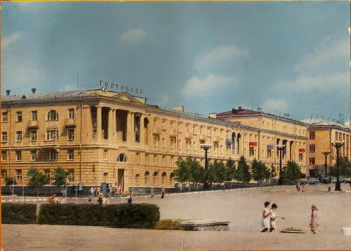 Белгород, центральная площадь, гостиница Белгород, 1960-е, фото из архива Sanchess