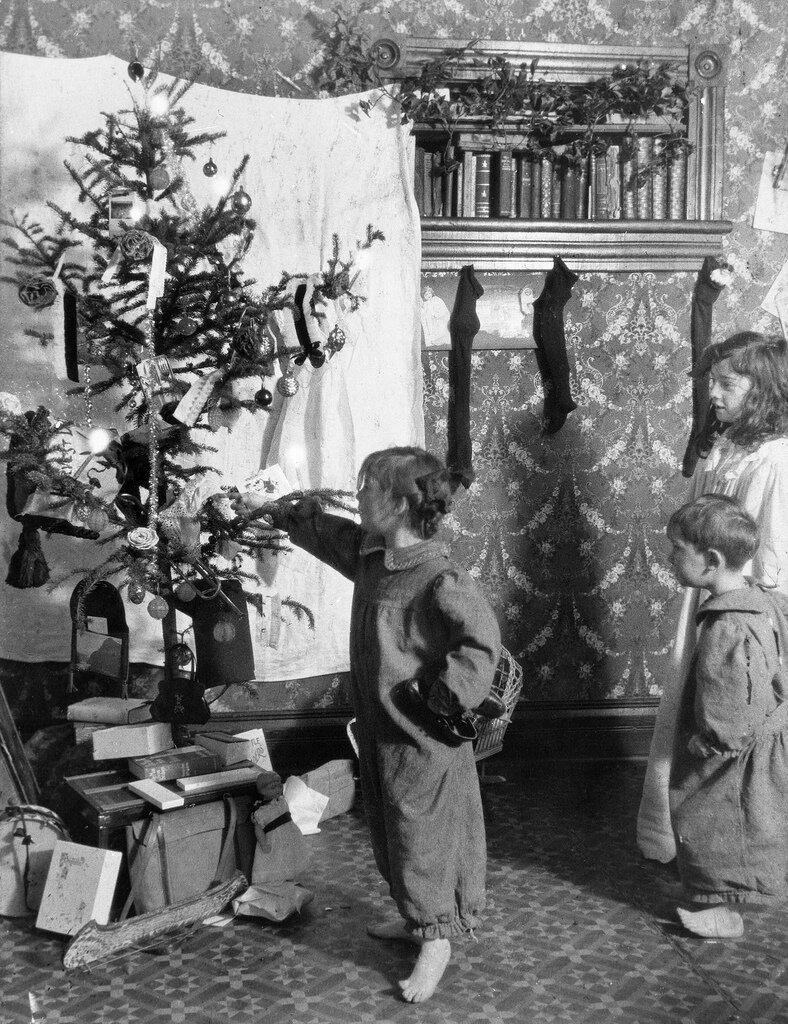 children with Christmas tree, Saskatchewan.1910