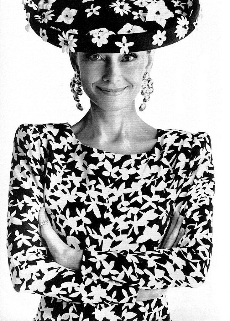 Audrey in Givenchy, photo by Gilles Bensimon for French Elle, 1988