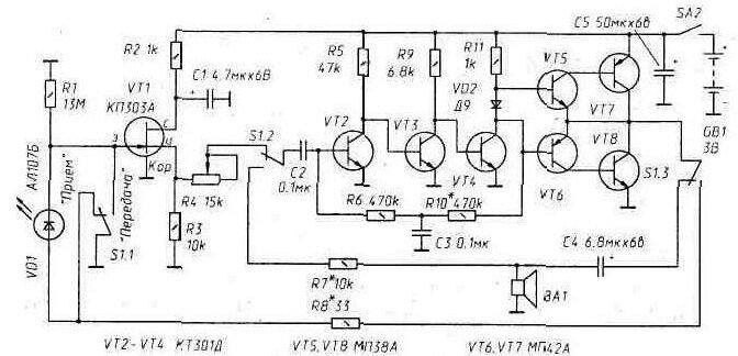 Рис. 2. Принципиальная схема ИК телефона.