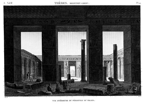 Дворец Рамсеса III в Мединет-Абу, перистильный двор, гравюра начала XIX века из Наполеоновского атласа