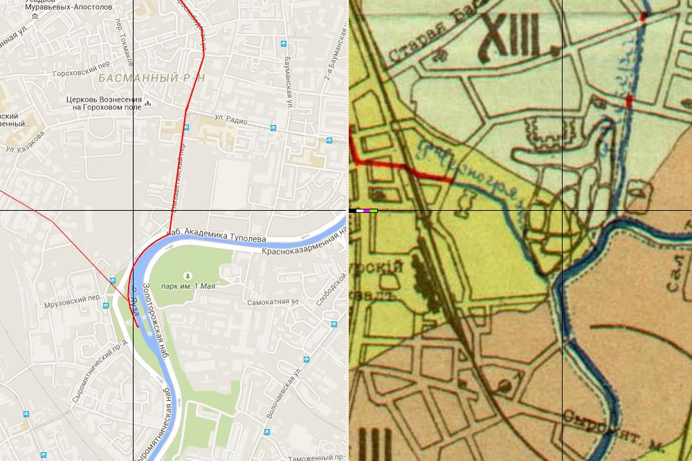 Река Чечера и река Черногрязка на карте
