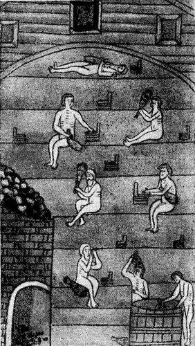 Рисунок 85. Парильня в деревянной бане (миниатюра из рукопиги XVII века. ГИМ).
