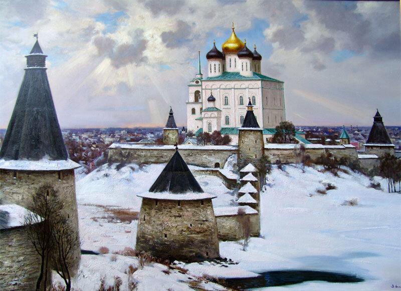 Псковский Кремль. 2006. Виктор Владимирович Лысюк. Холст, масло.152х212.
