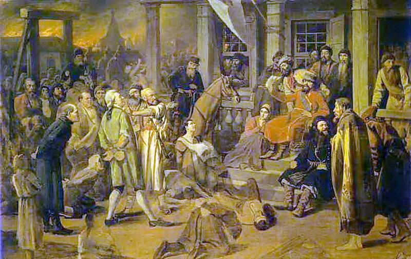 Василий Перов 1834 - 1882. Суд Пугачёва