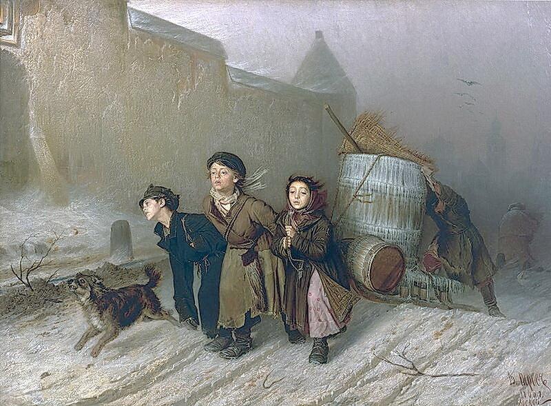 Василий Перов 1834 - 1882. Тройка.Ученики мастеровые везут воду
