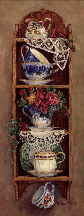 """Схема вышивки  """"Полка с цветами и чашками """": комментарии."""