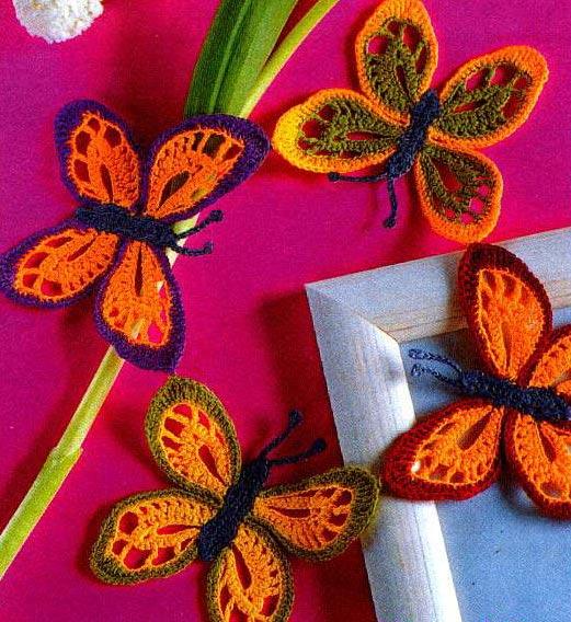схема декоративных бабочек крючком.