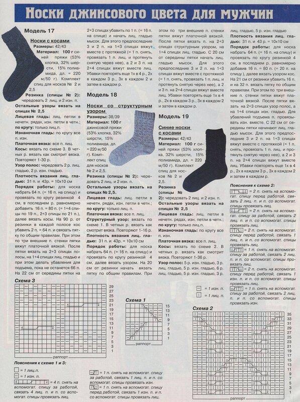 Рисунки при вязании носков 115