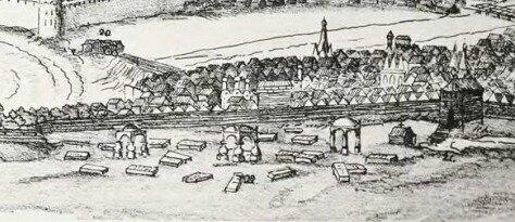 Кладбище за Земляным городом . Фрагмент панорамы Москвы. 1661. Мейерберг.