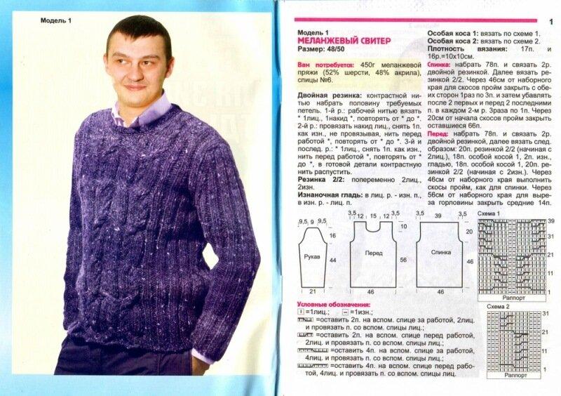 Вязание свитеров для мужчин с описанием 903