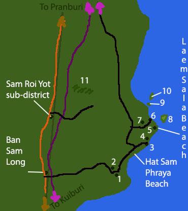 Карта со схемой национального парка Сам Рой Йот (Khao Sam Roi Yot National Park) в Таиланде.
