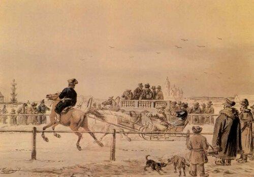 А. О. Орловский — Бега на Неве — Акварель — 1814 г..
