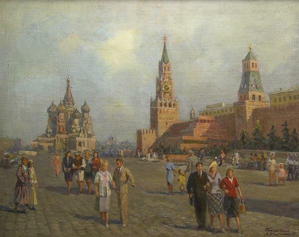 П. П. Соколов-Скаля, А. И. Плотнов. Гуляние на Красной площади.