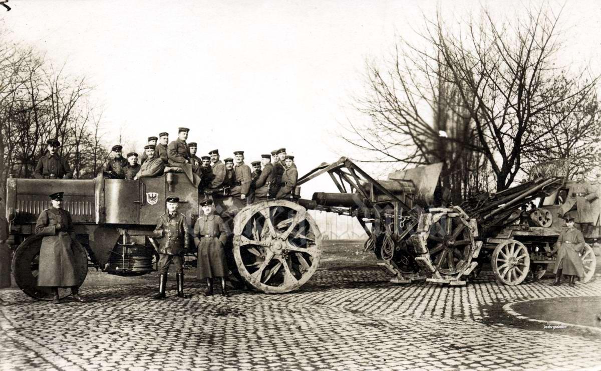 Гаубица Morser калибра 21 см с артиллерийским тягачом (1917 год)