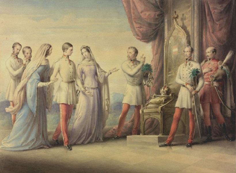 Erzherzogin Sophie geleitet ihren Sohn Franz Joseph zum Thron