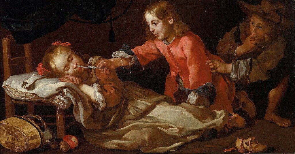 Bernhard_Keil_-_Sleeping_girl_with_two_children_playing.jpg