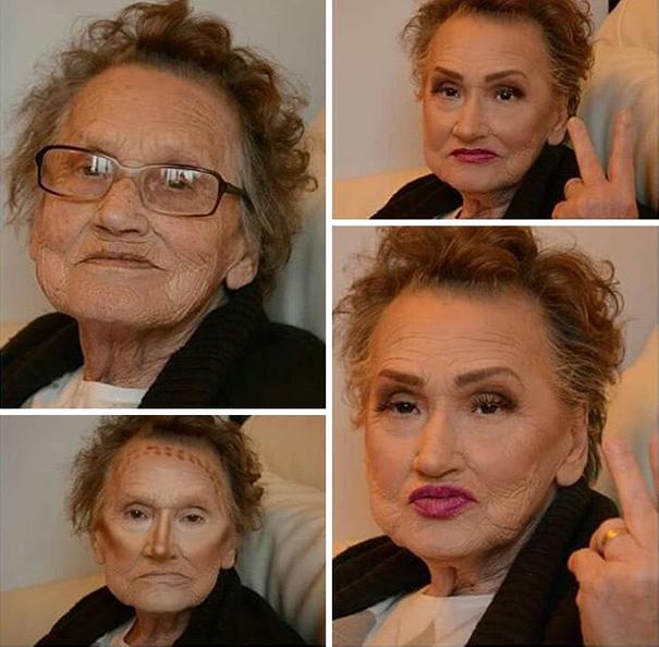 И внучка опробовала на бабушке свои навыки контурного макияжа.