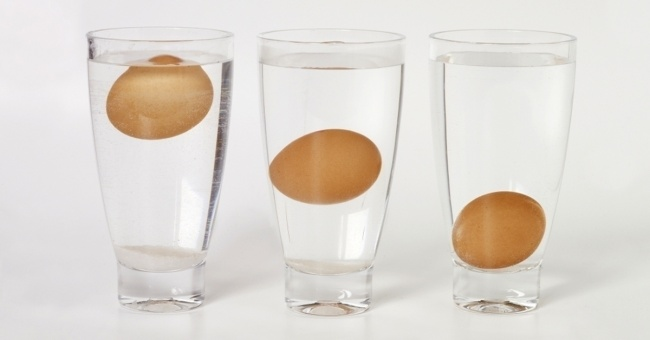 Яйца Если положить яйцо в воду и оно всплывет, то его есть уже нельзя, оно испорчено.