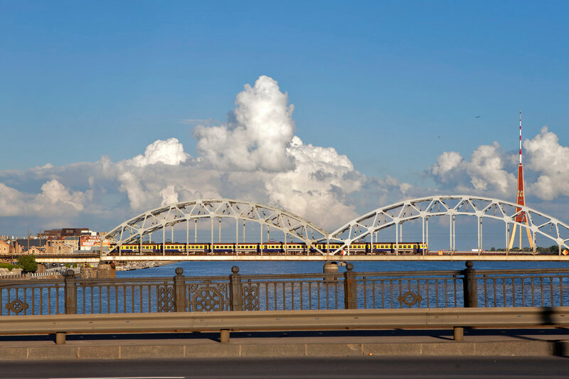 Bridges on Daugava river, City of Riga Latvia