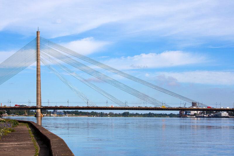 Vansu Bridge (1981, former Gorky Bridge) over Daugava River in Riga, Latvia. One of five big bridges in Riga and the only cable-stayed