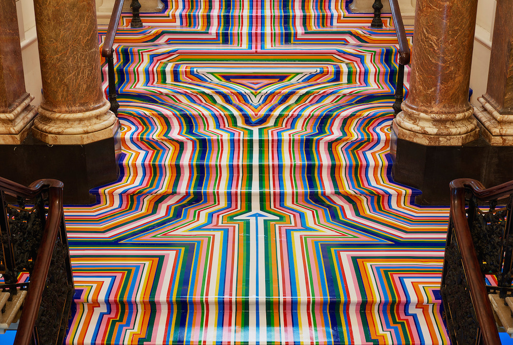 Technicolor Rainbow Tape Floor Installations by Jim Lambie (7 pics)