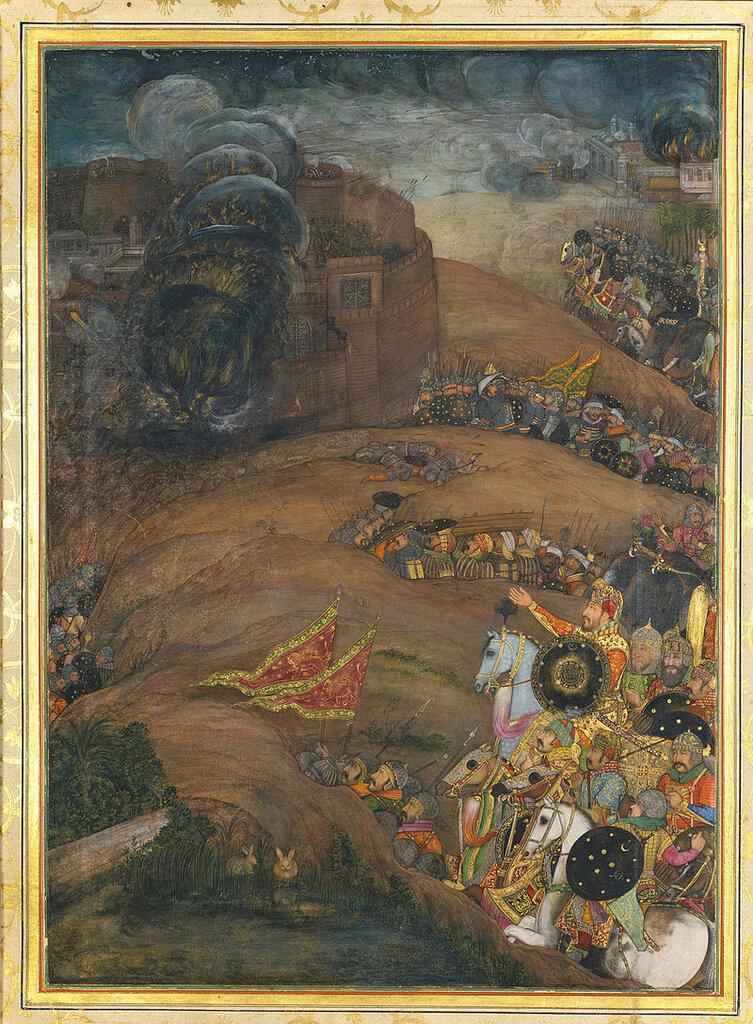 Паяг. Насири Хан руководит осадой Кандагара. ок. 1633. Лист из Падишахнаме.jpg