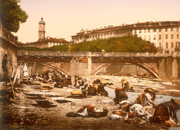 Nizza, Waescherinnen am Fluss / Foto 1895 -  -