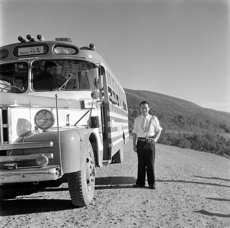 Bus & Man With Camera - 1950s Japan