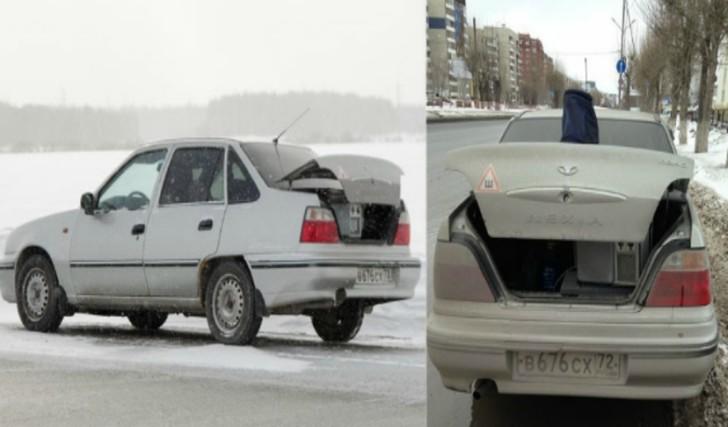 8. Авто с сюрпризом Видеофиксатор в багажнике гражданской машины.