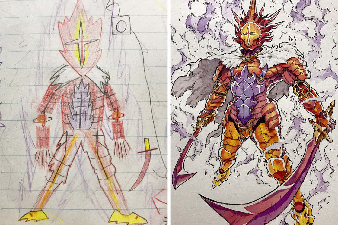 He continues to transform his son's drawings into badass characters!