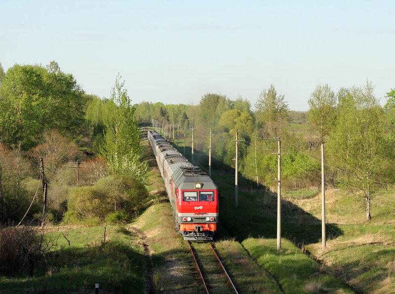 ТЭП70БС-234 с поездом 693 Великие Луки - Невель - СПб на перегоне Великие луки - Опухлики