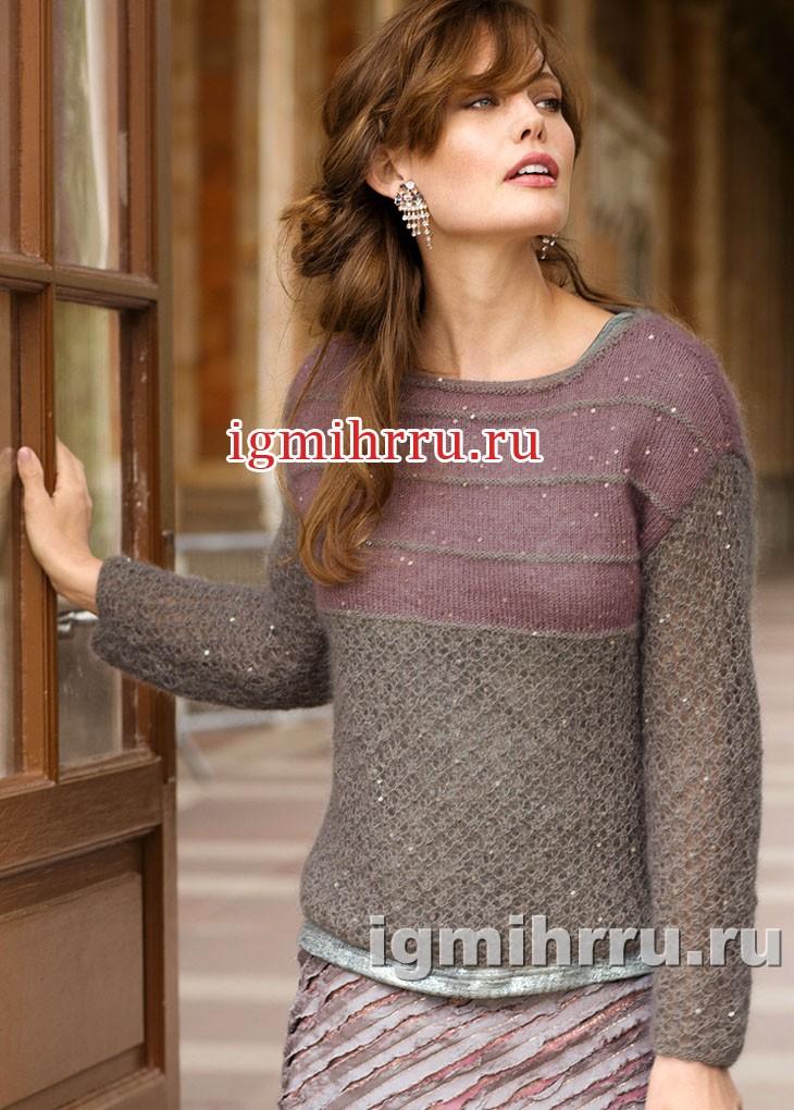 Женственный двухцветный пуловер с ажурным узором. Вязание спицами