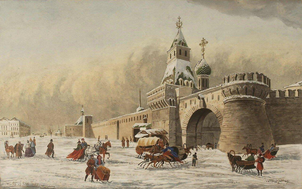 Вид части Лубянской площади у Владимирских ворот Китай-города. Зимний пейзаж 1850-е ГИМ.jpg