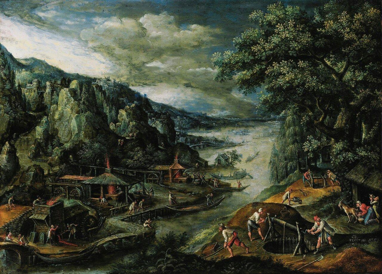 1611_Речной пейзаж с производством железа (A River Landscape With Iron-mining Scenes)_39 х 51_медь, масло_Частное собрание.jpg
