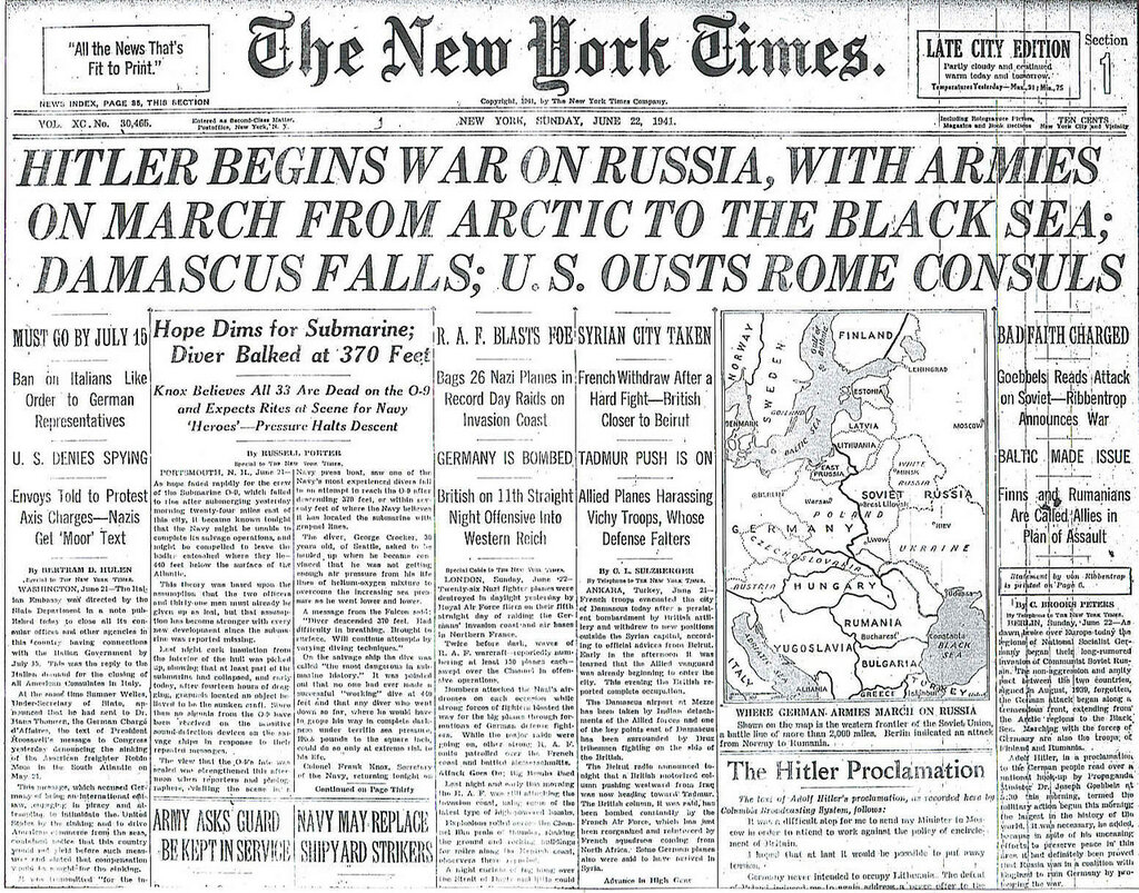 The New York Times, une 22, 1941