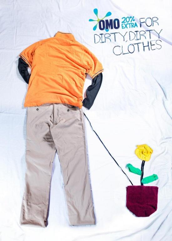 Порошок Omo для очень, очень грязной одежды.