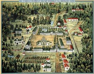 Вид Леушинского монастыря Череповецкого уезда Новгородской губернии