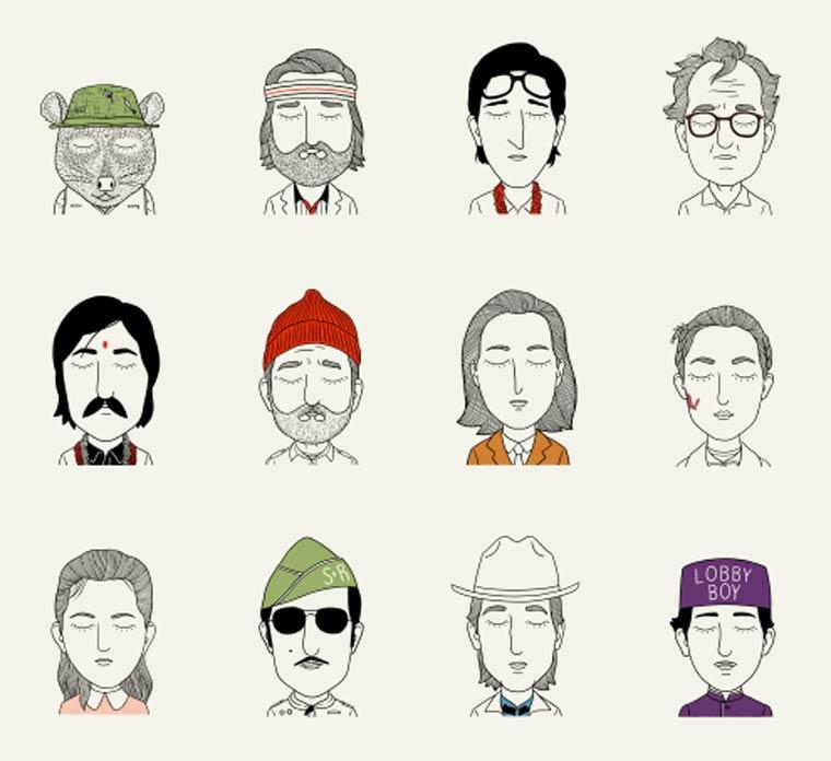 Tous les personnages de Wes Anderson reunis dans une jolie serie d'illustrations