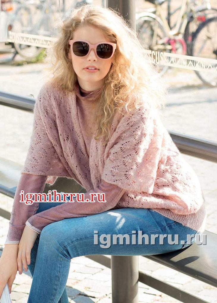 В стиле oversize. Розовый ажурный пуловер. Вязание спицами